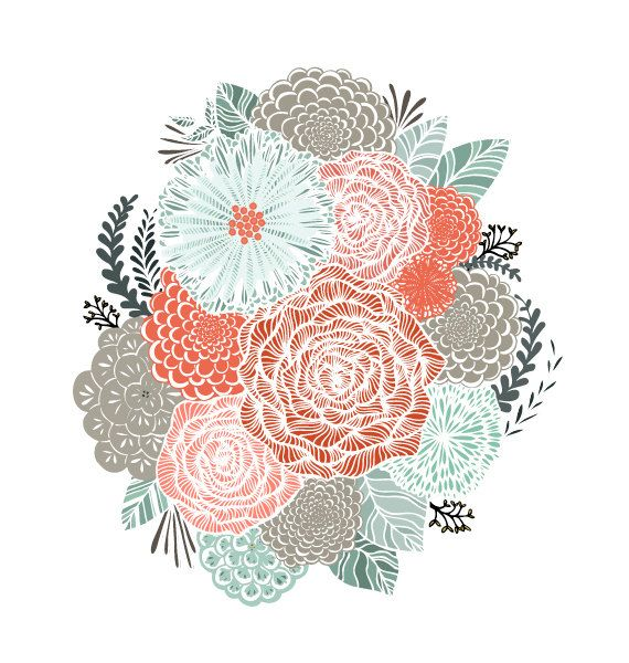 Mint and Coral Floral Illustration Archival Art door HeatherMettra, $20.00