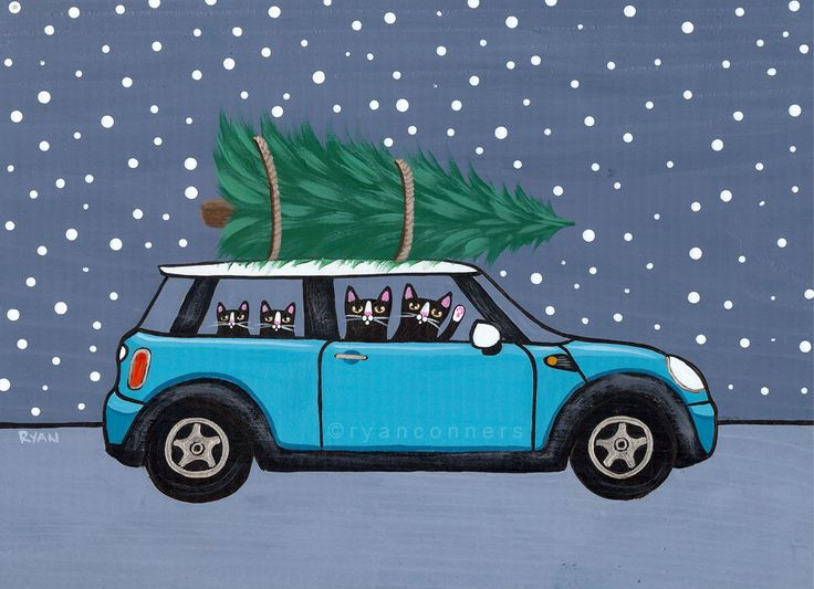 Teal Mini Cooper Christmas Cats Original Folk Art Painting by Ryan Conners (KilkennycatArt)