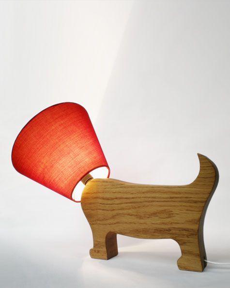 Playful Dog Wood Lamp with Fabric shade and brass fittings by Matt Pugh. Find DIY lamp wiring supplies at www.ilikethatlamp.com