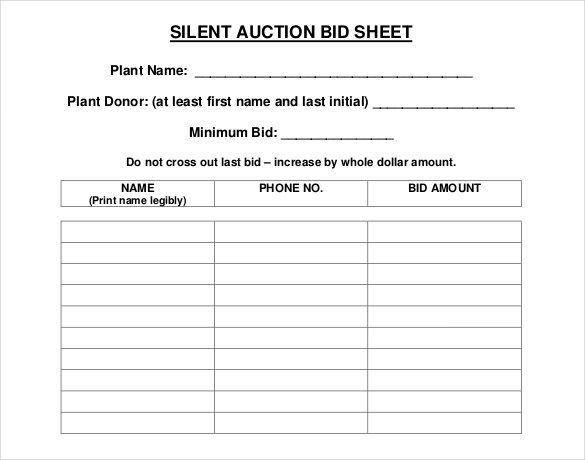 Free PDF Format Silent Auction Bid Sheet Template