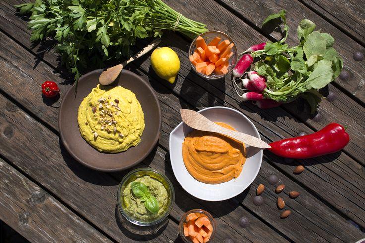 Farverige og smagfulde hummus til sommermaden!