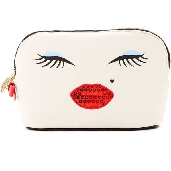 Betsey Johnson Sequin Lips Dome Cosmetic Case (80 BRL) ❤ liked on Polyvore featuring beauty products, beauty accessories, bags & cases, cream, wash bag, makeup purse, travel bag, purse makeup bag and cosmetic purse