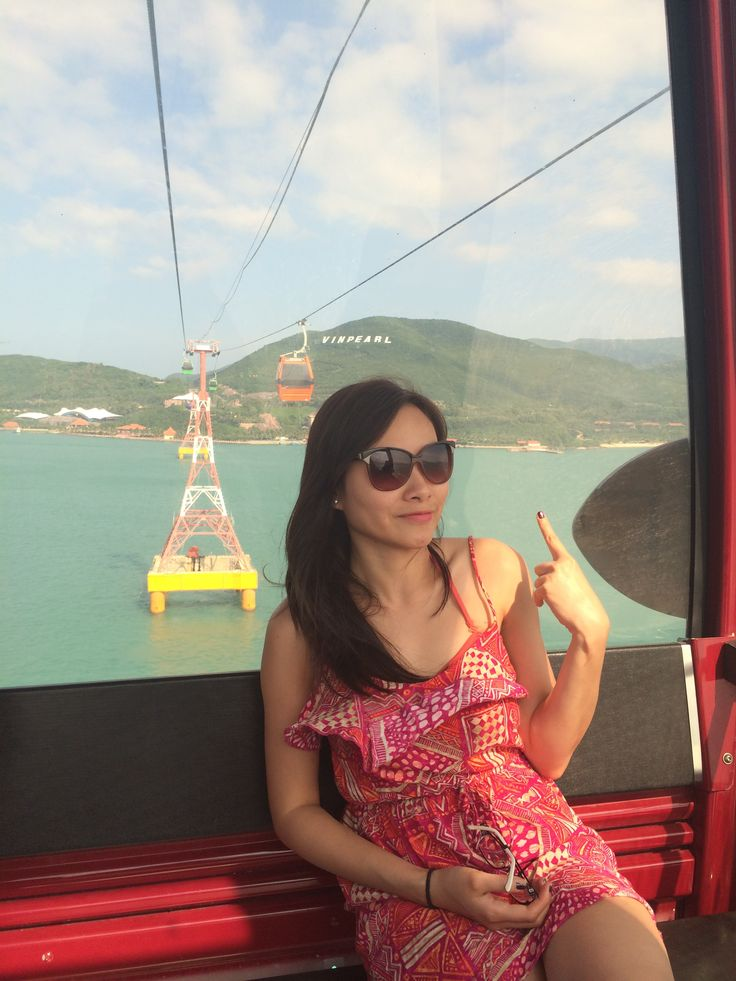 Catching a cable cab to Vinpearl - the famous resort island in Nhatrang