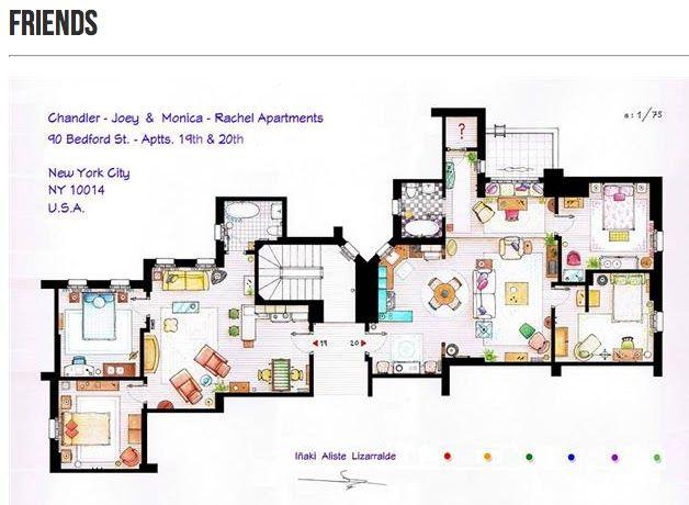 apartment floor plan of joeychandler and monicarachel - Rachel Home Plans