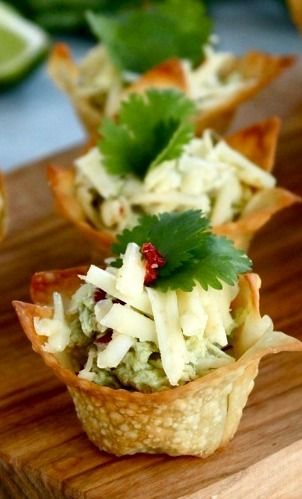 Avocado Chicken Salad Bites in Wonton Wrappers