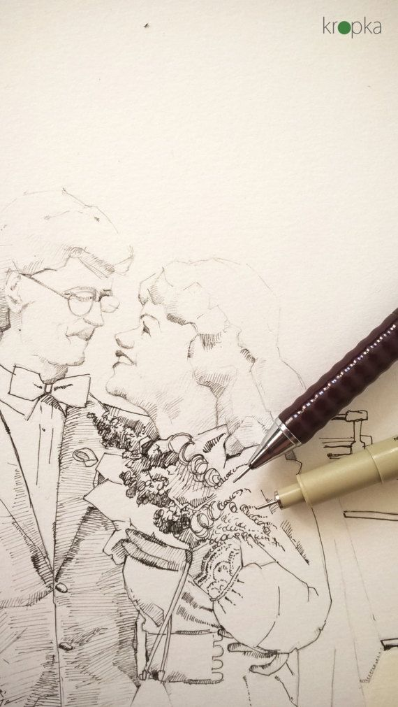 A custom couple portrait Hand painted portrait by KropkaDesign#handpainted #couple #illustration #ilustracja #ołowek #pencil #olowek #rysunek #drawing #mixedmedia #art #poster