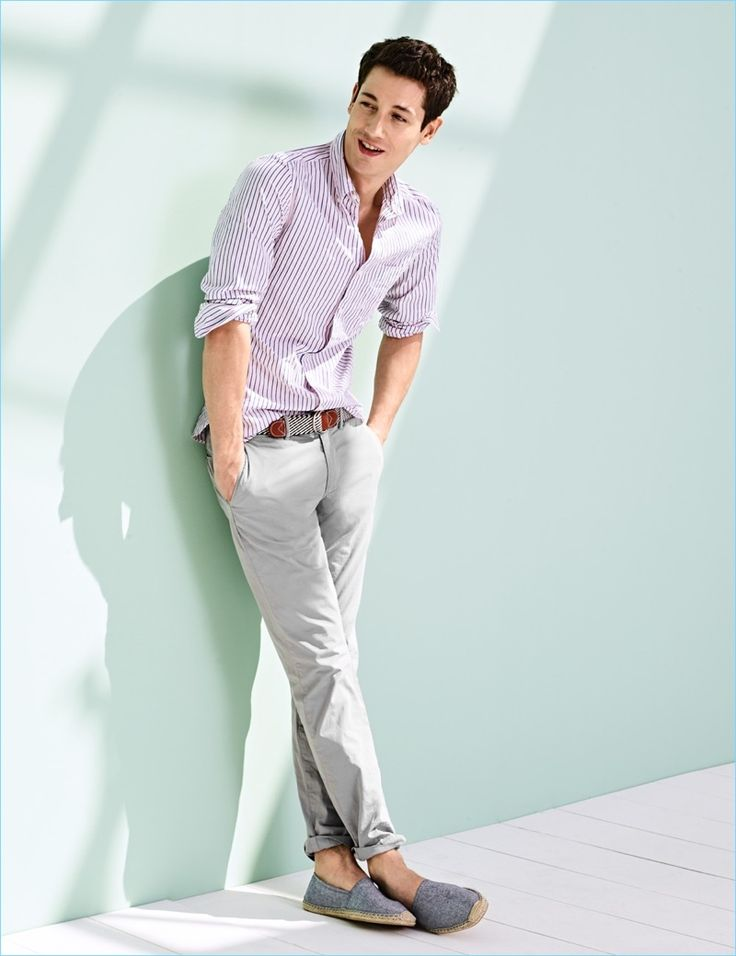 Lightweight Chinos: Nicolas Ripoll wears J.Crew chinos $75 with a striped shirt. He also sports a J.Crew striped belt $40 and Soludos espadrilles $52.
