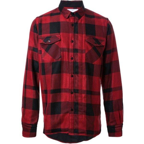 Sacai checked shirt ($396) ❤ liked on Polyvore featuring men's fashion, men's clothing, men's shirts, men's casual shirts, shirts, men, red, tops, mens red checkered shirt and mens viscose shirts