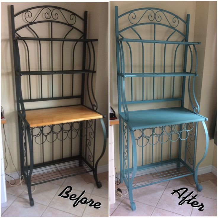 Bakers rack makeover using chalky finish paint in French teal.