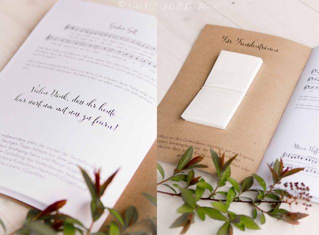 Kirchenliedblätter aus Kraftpapier mit Freudentränen - Church Booklet with inside tissue for tears of joy made from Kraft paper