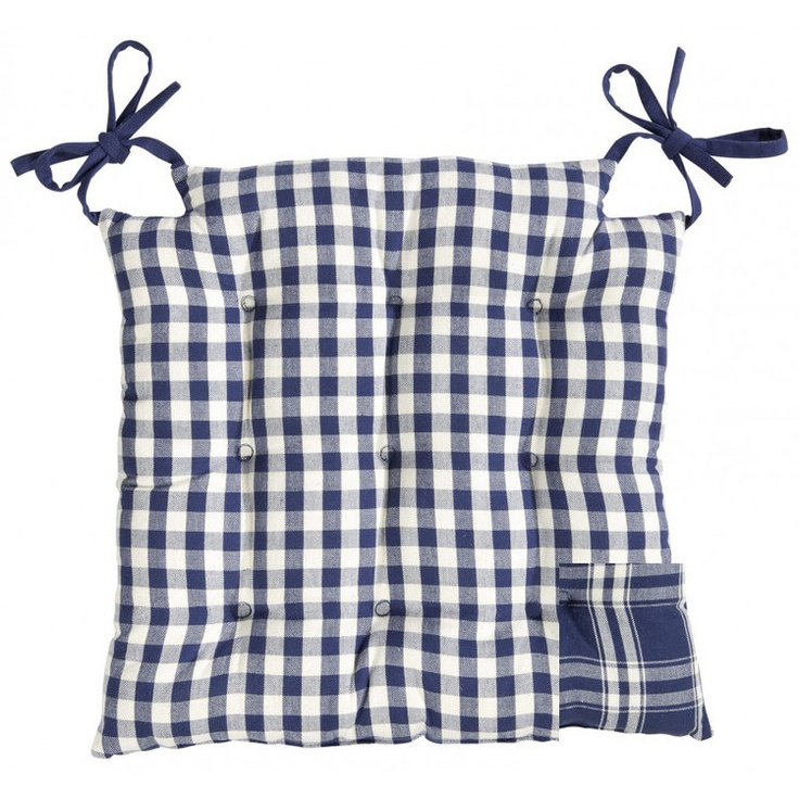 Reversible Blue and white gingham square seat pad. Perfect for that French country kitchen look.