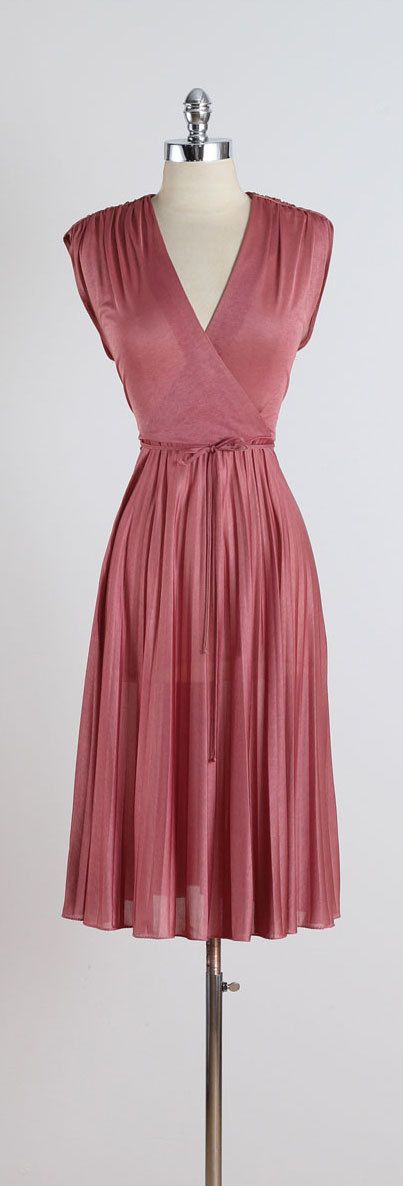 Love this dusky pink colour Four on the Floor . vintage 1970s dress . by millstreetvintage