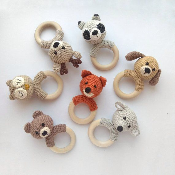 Animal crochet rattle Baby wooden gift Organic teething toy Bear Deer Fox Mouse …