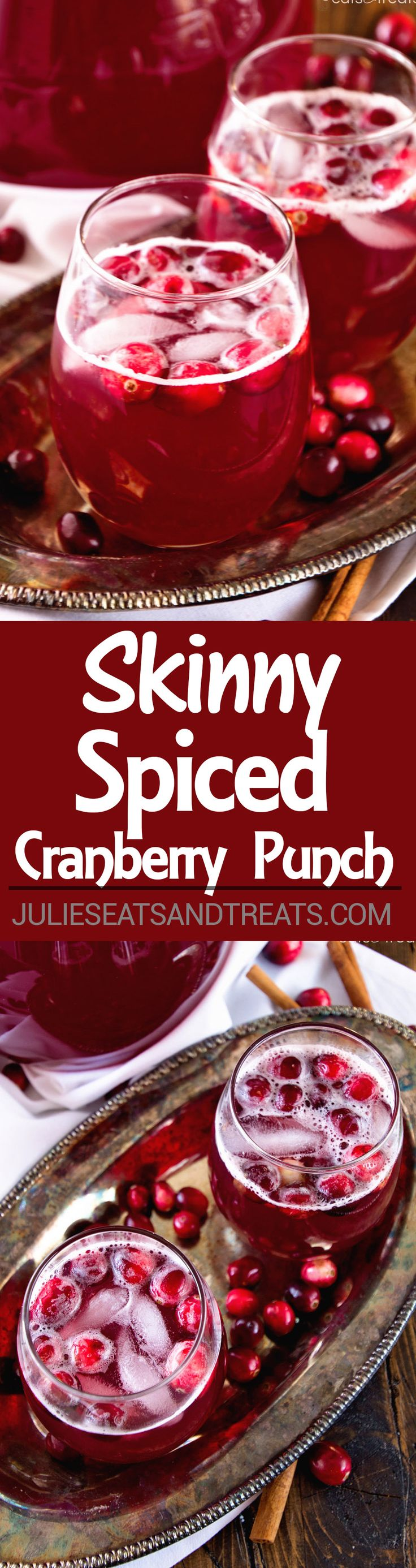 Skinny Spiced Cranberry Punch Recipe ~ A Delicious Light Drink! A Mixture of Cranberry, Pineapple Juice and Ginger Ale and Spiced with Cinnamon. Perfect for Holiday Parties! on MyRecipeMagic.com