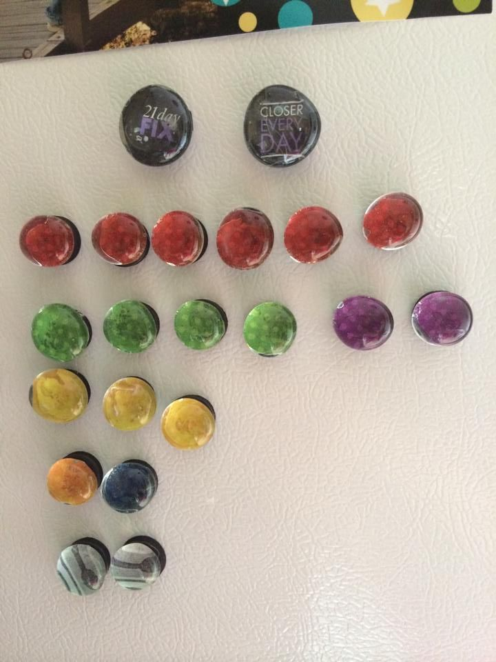 21 Day Fix Meal Plan Tracking Idea. Colored magnets that represent containers help track how many servings of each you get each day.  It's right on your fridge to make it easy to see and use. Use glass stones at dollar store.  Put Modge Podge on the back, trace colored card stock and put it on the Modge Podge. Let it dry then use a glue gun to add round magnets that you can find at a craft store. ~Nicole Marie