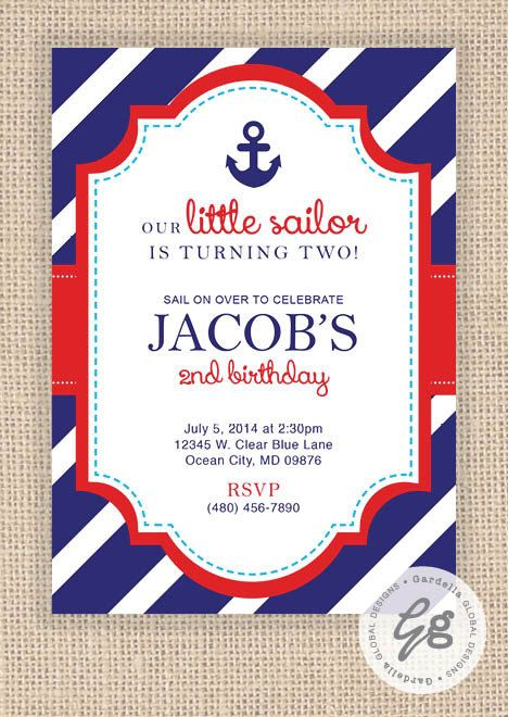 Nautical Birthday invitation, Nautical invitation, Nautical invite, Nautical birthday party, Nautical party, Nautical Birthday, Nautical Birthday Party Set, Ocean Theme, Navy and Red, Invitation, invite, Thank you Card, Cupcake toppers, Birthday banner, Labels, Wraps, Centerpieces, and much More! #HEPTEAM