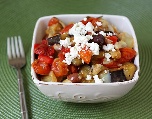 Mediterranean Roasted Vegetables- Slow roast tomatoes. Roast aubergine, brussels sprouts, capsicum, artichoke & garlic. Add olives, capers, roasted tomatoes and balsamic. Serve over quinoa, top w/ feta.