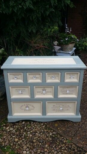 Merchant drawers in Annie Sloan duck egg blue and cream with cocoa french stencils xx