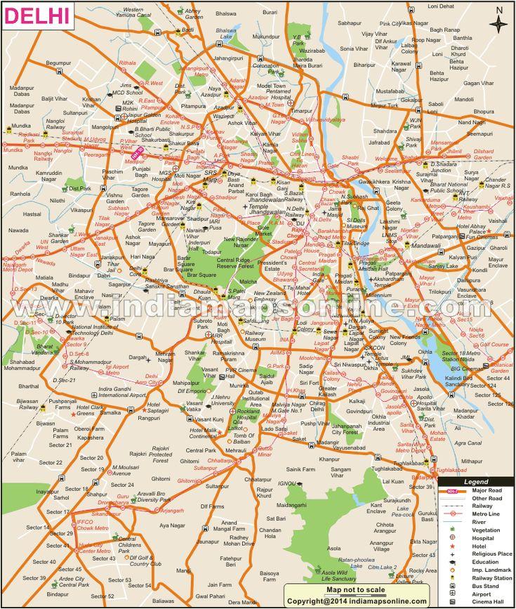 elhi Tourist Map Showing major tourist attractions in Delhi.