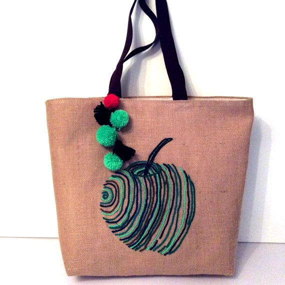 Green apple with lines handmade jute tote bagsummer by Apopsis