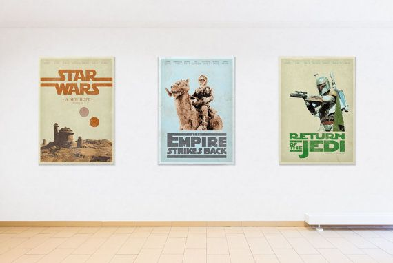 STAR WARS  Empire strikes back, A new hope, Return of the jedi, set of three,Poster Print Geaorge Lucas Home Decore Art Print A3 by baydlecreative. Explore more products on http://baydlecreative.etsy.com