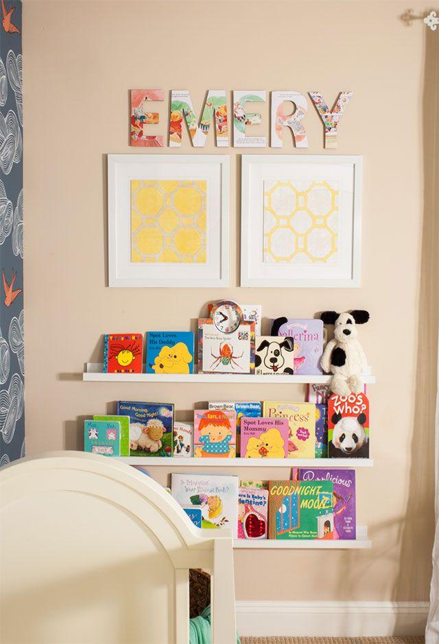 Nursery Name Art Ideas | projectnursery.com {Love these vintage storybook letters!}