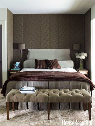 """The palette in the upstairs master bedroom comes straight from nature: """"You're in the treetops — spruce, pines, oaks, and maples,"""" designer Ruard Veltman says."""