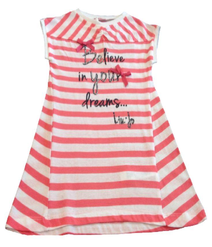 VESTITO LIU JO BABY,  Vestitino per bambine della Liu Jo Baby in jersey con fantasia a righe, manica corta, profili a contrasto, stampa frontale arricchita da strass, logo.  http://www.abbigliamento-bambini.eu/compra/vestitino-liu-jo-baby-2723009