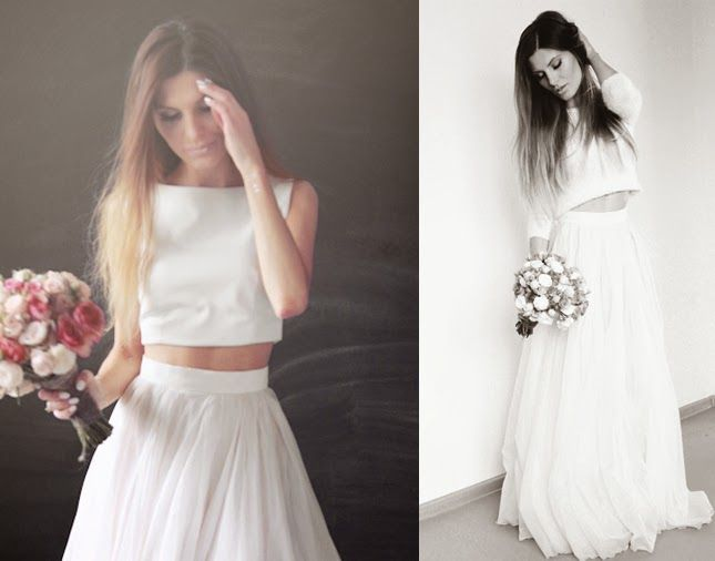simple wedding dress, white leather crop top, silk organza skirt