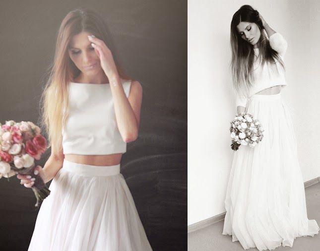 simple wedding dress, white leather crop top, silk organza skirt