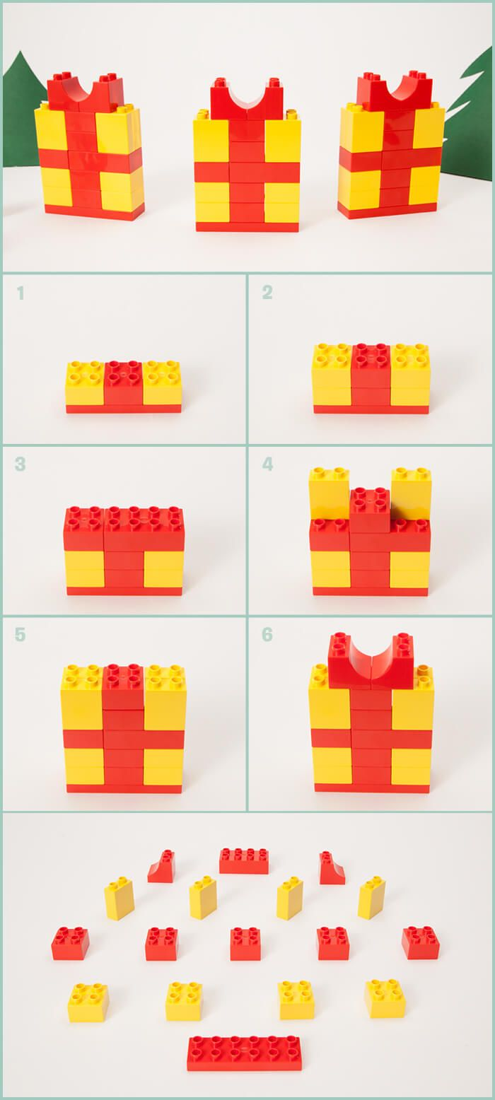"This time, on ""stocking stuffers and holiday decorations"" we bring you gifts! All you have to do is make them yourself, of course. The 17 bricks used here are from the LEGO® DUPLO® Creative Suitcase, but they are all basic bricks you can find in any color in almost any LEGO DUPLO set."