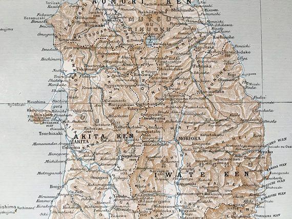 1915.JAPÓN.Mapa de AOMORI a SENDAI-Lámina a color. 30 cm. x 24