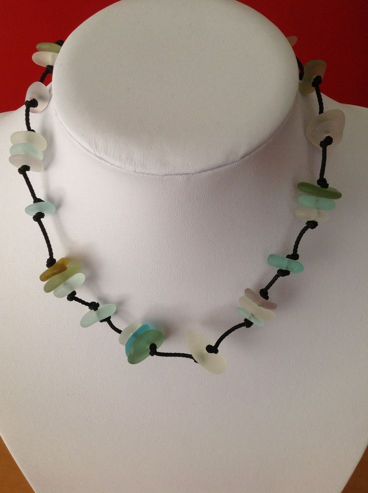 Sea glass necklace from Fossik Jewellery, New Zealand.