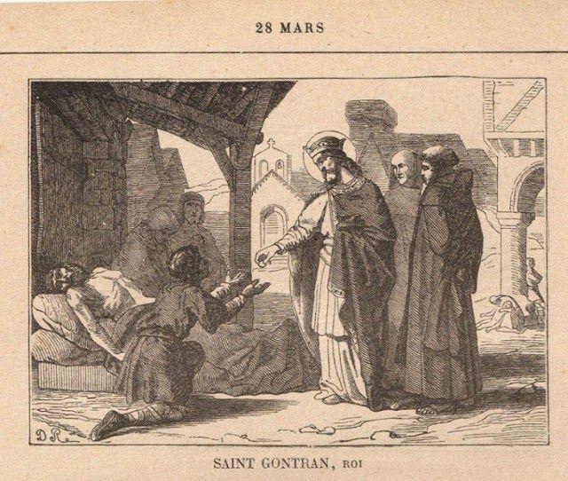 """SAINT GONTRAN, roi - GONTRAN, 3) CULTE, 1: Grégoire de Tours relate plusieurs miracles que Gontran aurait opéré avant et après sa mort et dont il fut lui-même témoin (il guérit notamment des malades atteints du choléra). L'appelant """"le bon roi"""" Gontran"""", il le fit canoniser par la voix du peuple, dès sa mort. Son tombeau est retrouvé au XV°s, provoquant l'extension de son culte dans son royaume."""