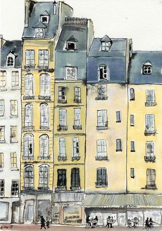 Eine Postkarte von meiner ursprünglichen Gouache und Tusche-Malerei einer Straße und Café in Paris. Der Druck ist 4 x 6 auf dem glatten weißen 300gsm
