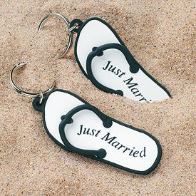 """Mini Flip Flop """"Just Married"""" Key Chains from HotRef.com #justmarried #keychain"""