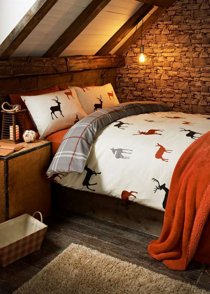 Stag Printed Reversible Brushed Cotton Duvet Set View 1