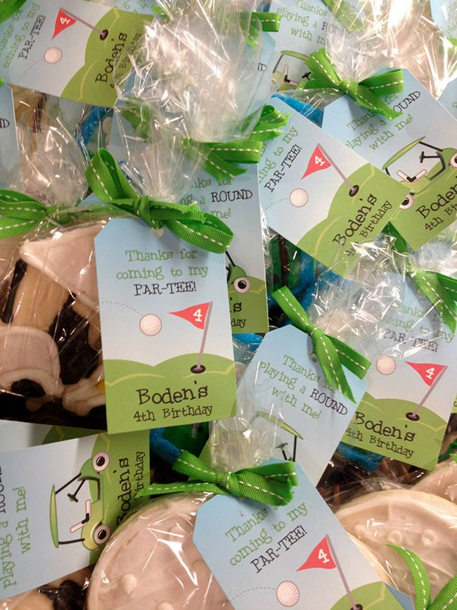 Golf theme cookies from Cookies By Jess, with printable tags from Chickabug