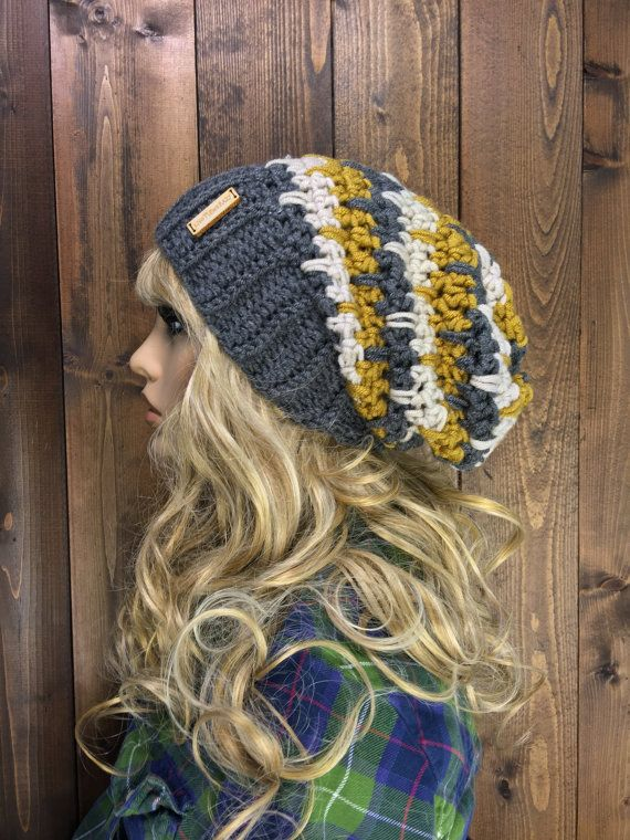 Crochet Ribbed Brim Slouchy Slouch Crochet Beanie by KnotSewKrazy