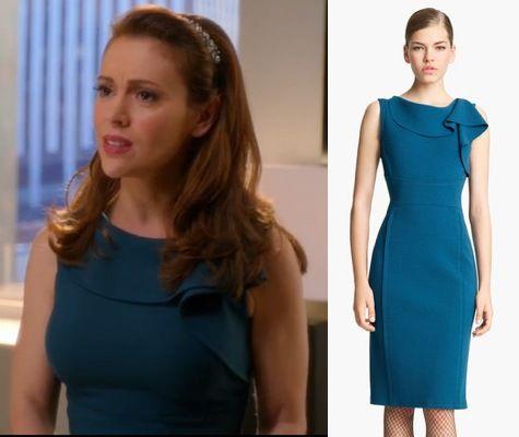 Mistresses Episode 12: Savi's (Alyssa Milano) turquoise/teal Oscar De La Renta Ruffle Neck Wool Dress #mistresses #getthelook
