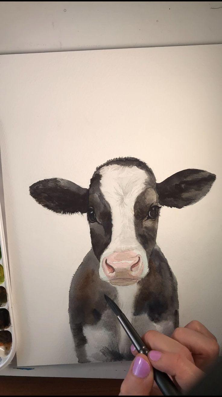 groß Baby Kuh Aquarell Zeitraffer