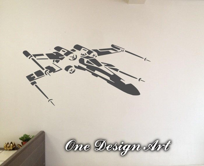 Beautiful X Wing Fighter Star Wars wall decals anime mural arts sticker for interior decor kids