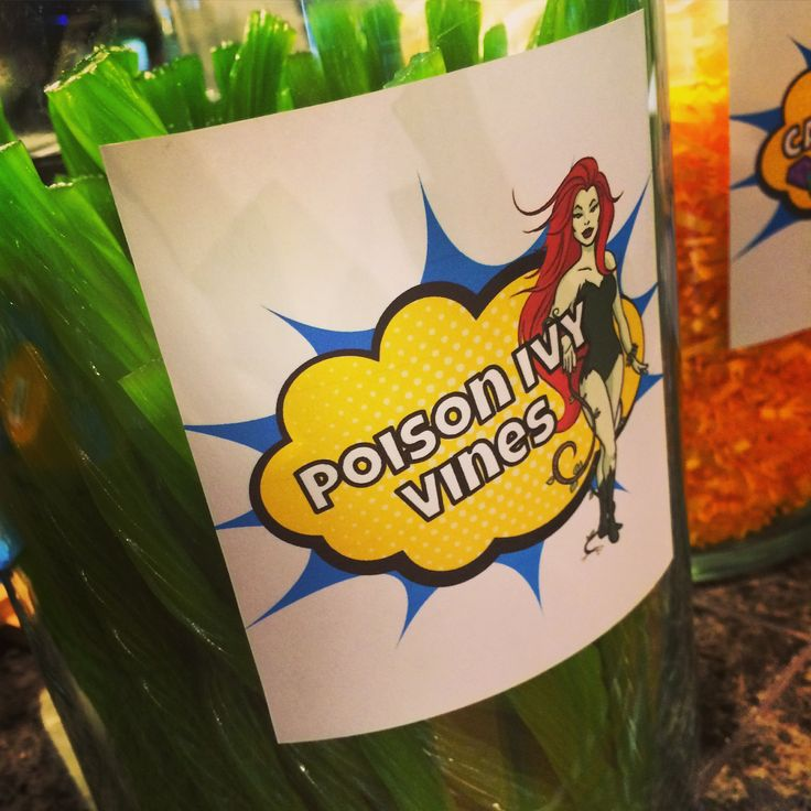 Poison Ivy Vines. Green apple licorices. Batman and Villains superhero themed birthday party.