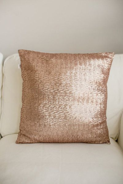 Lu & Lu Boutique Rose Gold Sequin Pillow: http://www.stylemepretty.com/living/2015/10/24/spotted-on-saturday-rose-gold-finds-for-the-home/