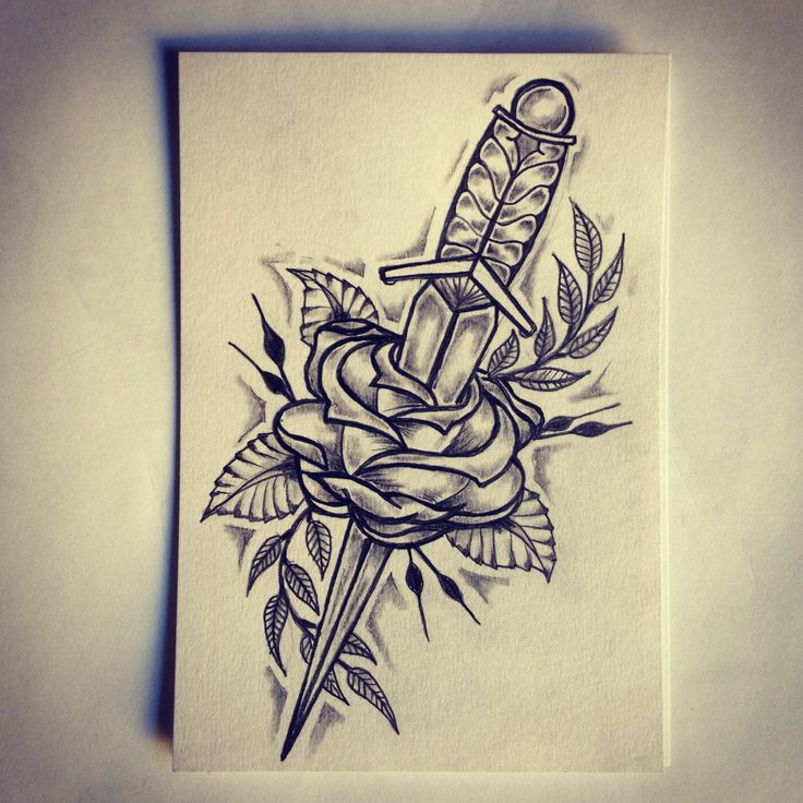 Dagger / Rose Tattoo Sketch /…