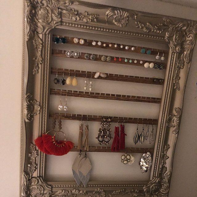 Hanging Earring Organizer Earring Holder Frame Custom Earring Holder Hanging Jewelry Organizer Creatively Cluttered Earring Display Hanging Jewelry Organizer Hanging Jewelry Wall Mount Jewelry Organizer