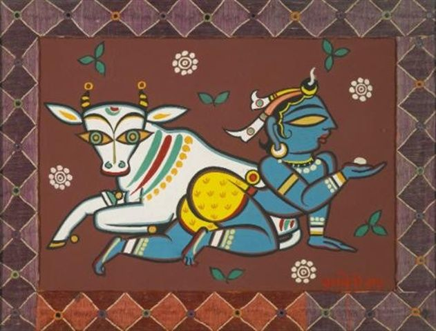 Jamini Roy - Untitled (Krishna with cow)