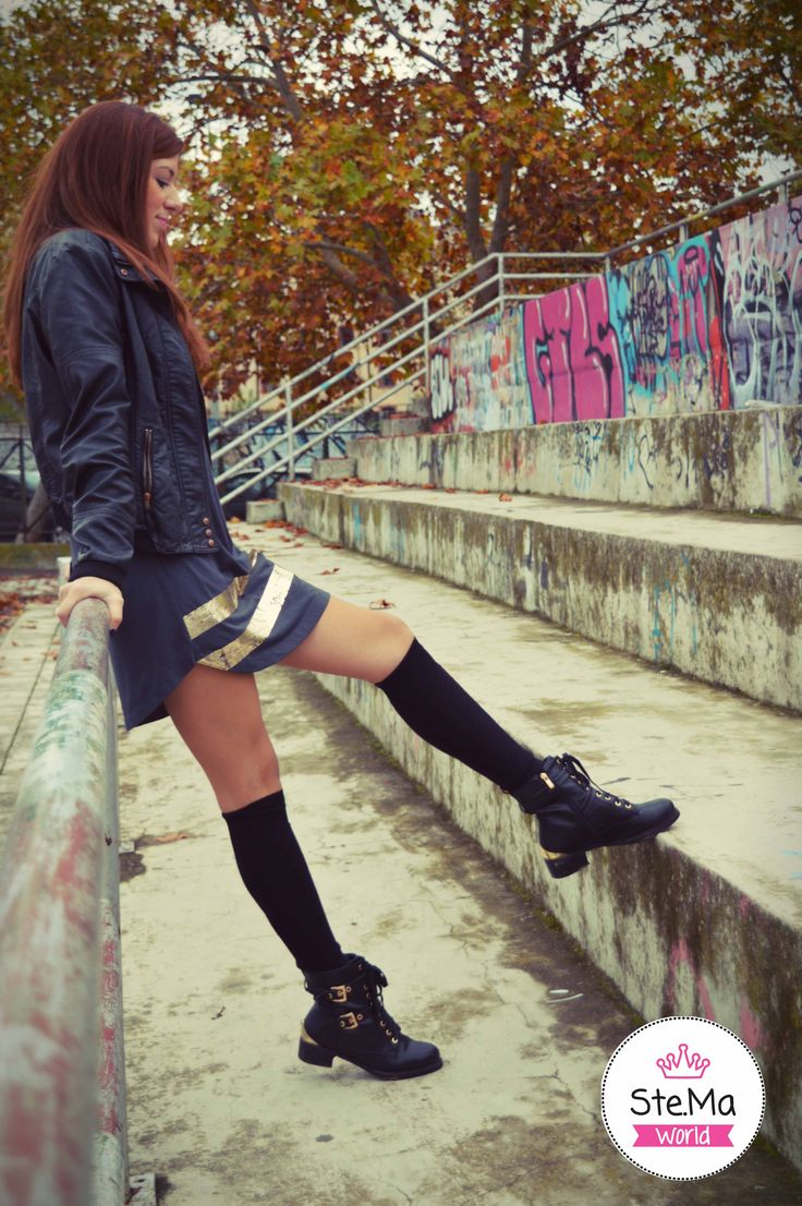 Street style with a sporty dress, over the knee socks and our favourite biker boots!