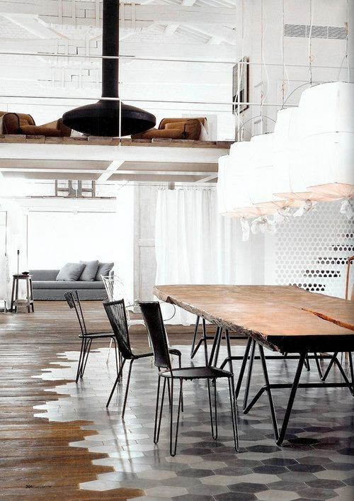 contemporary modern loft interior. industrial, steel,concrete,tiles,wood slb table,vintage