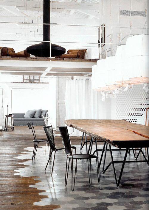 contemporary modern loft interior. industrial, steel,concrete,tiles,wood slb table,vintage